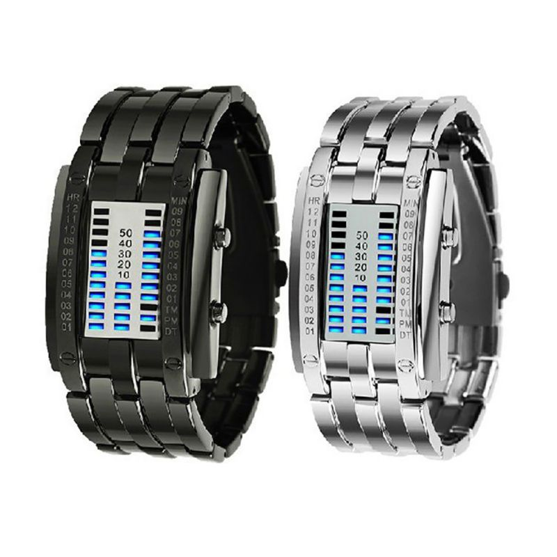 Watch Men's Future Technology Binary Hot Sale Black Stainless Steel Date Digital LED Bracelet Sport Women Watches