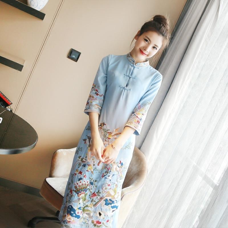 Retro Chinese traditional embroidery dress satin silk Cheongsam qipao