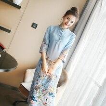Китайское традиционное платье с вышивкой в стиле ретро, атласное шелковое платье Ципао