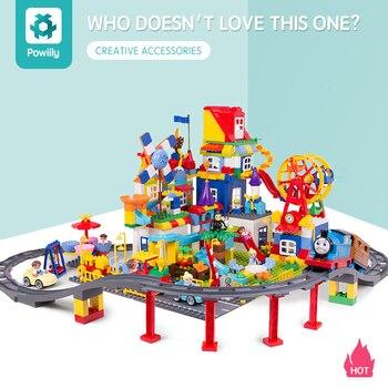 powiily Train Bridge Building Blocks DIY Assembly Creative Educational Tracks Children Toys Compatible Duplo Bricks set
