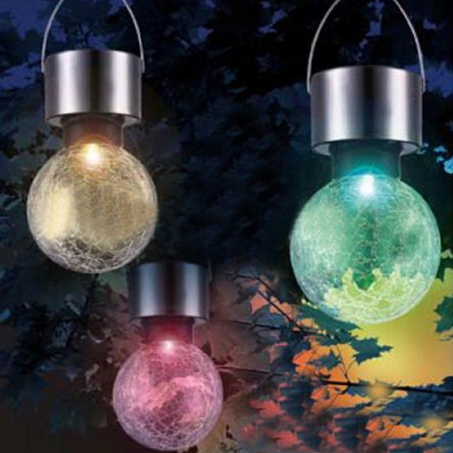 1xoutdoor solar powered led hanging lamp decorative colorful led 1xoutdoor solar powered led hanging lamp decorative colorful led ball globe lamps cracks ball workwithnaturefo