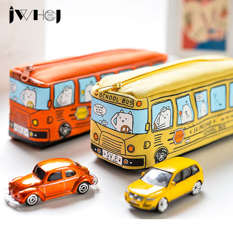 1 pcs Creative car bus pencil case large capacity canvas pencil bag kawaii stationery Students school supplies Cosmetic bag