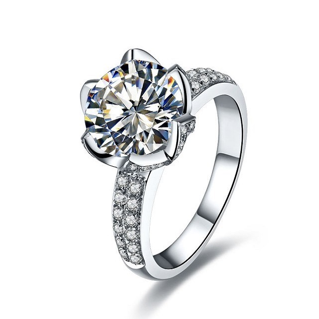 4Ct Round Cut Spark Synthetic Diamonds Ring 925 Sterling Silver Ring White Gold Color Brithday Gift Wedding Jewelry