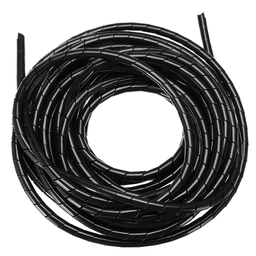 expandable pet braided cable protection sleeve flexible sleeving Flexible Cable Sheathing mayitr 1pc 10m 8mm spiral manage cable cord professional polyethylene spiral wire wrap hose cable tube