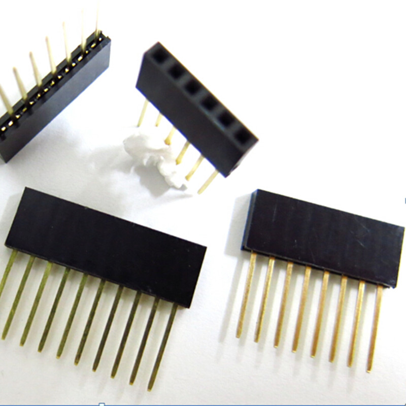 2.54mm Single Row Female Long pins 11mm Breakaway PCB Board Pin Header socket Connector 1*2/3/4/6/8/10/15Pin For Arduino 10pcs single row female 2 54mm pitch pcb female pin header connector straight single row 2 3 4 5 6 8 10 12 14 15 16 20 40pin
