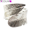 Love Care Bracelets Bangles Silver/Gold Feather Women Bangles Alloy Friendship Bracelets For Women Jewelry High Quality