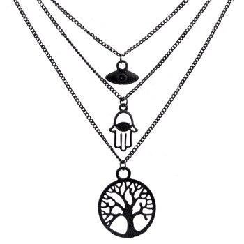 2018 Multilayer black tree of life evil eye necklace Good Luck Turkey Fatima Hamsa hand Charm Jewelry for woman gift monochrome