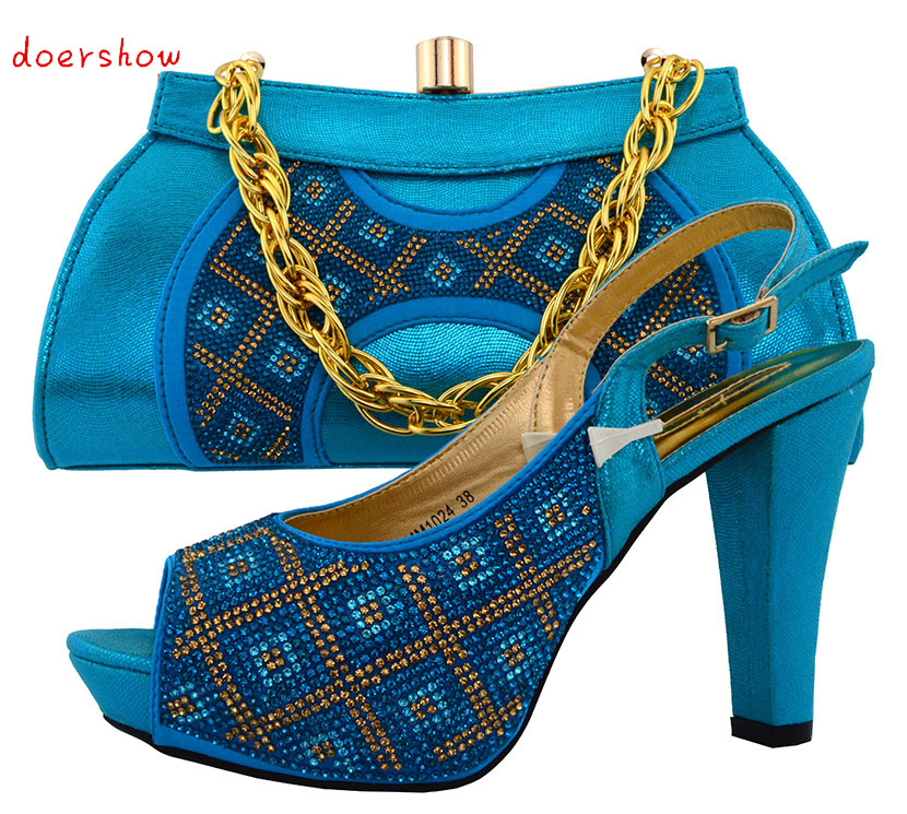 doershow Fashion Italian Shoes With Matching Bags For Party, High Quality Shoes And Bags Set for Wedding(Szie:38 or 43)  PUW1-41 capputine new arrival fashion shoes and bag set high quality italian style woman high heels shoes and bags set for wedding party