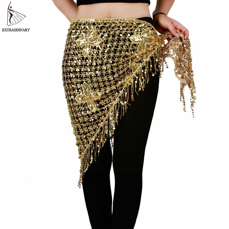 Dança do ventre Lenço de Quadril Cinto Elástico Triângulo Longa Borla Sequin Traje de Dança Do Ventre Acessórios Xale de Crochê Mão 10 Cores