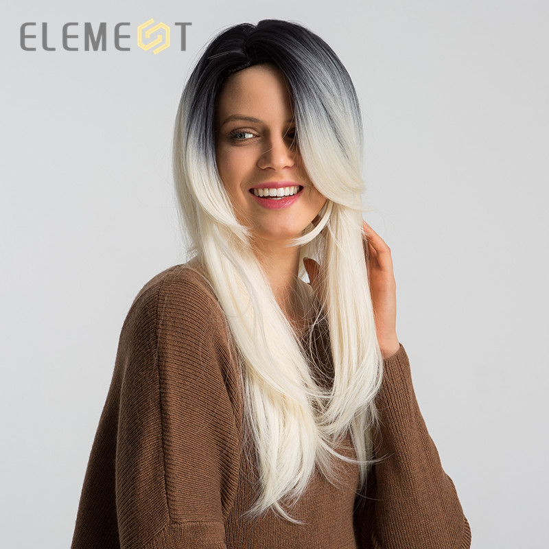 Element 26 Inch Long Straight Synthetic Wig Side Parting Fashion Ombre Rice-white Cosplay Party Wigs for Women Free Shipping