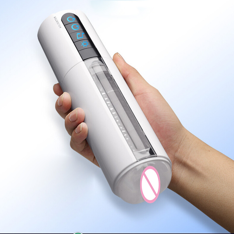 2017 USB Charging Waterproof LED Smart Heating Induction Sex Masturbator 6 Mode Moan Men Aircraft Cup Electric Masturbation Cup auto handfree retractable piston pricky male masturbation cup for men penis massage aircraft cup passion cup adult sex products