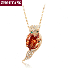 ZHOUYANG Top Quality ZYN036 Charm fox Necklace Rose Gold Plated Fashion Pendant Jewelry Made with Austria Crystal Wholesale