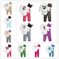 Hot sale all seasons 0-24 meses desgaste del bebé muchachas del mameluco babys estilo encantador de impresión mameluco mamelucos + hat + pants 3 unids set suit