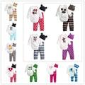 hot sale all seasons 0-24months baby wear boys romper babys lovely style romper print rompers +hat+pants 3pcs set suit