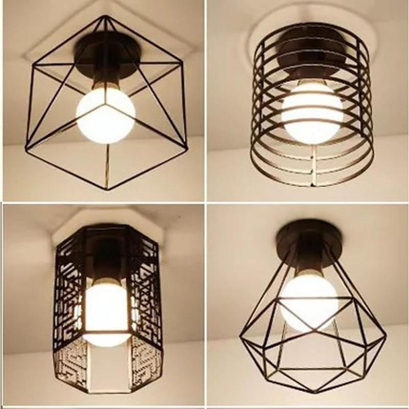 Vintage Ceiling Lights Lustre Luminaria Led Ceiling Lamp Loft Iron Cage Fixtures Corridor Entrance Home Lighting Plafonnier Z35
