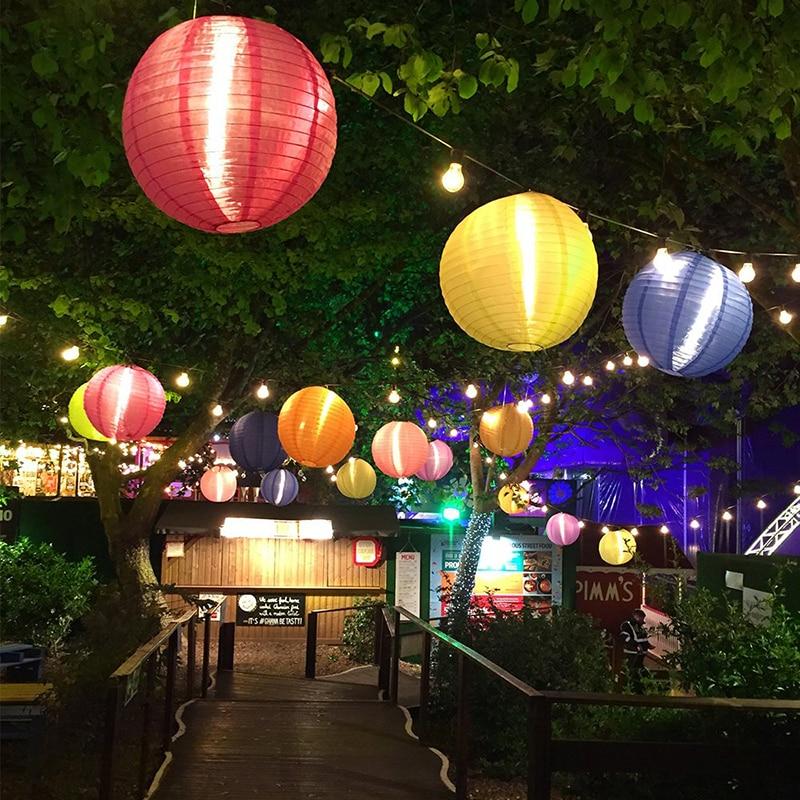 4pcs 10 Inch Solar Light Chinese Nylon Lantern Japanese Solar Lamp Hanging LED Halloween Garden Patio Tree Decor Christmas Party