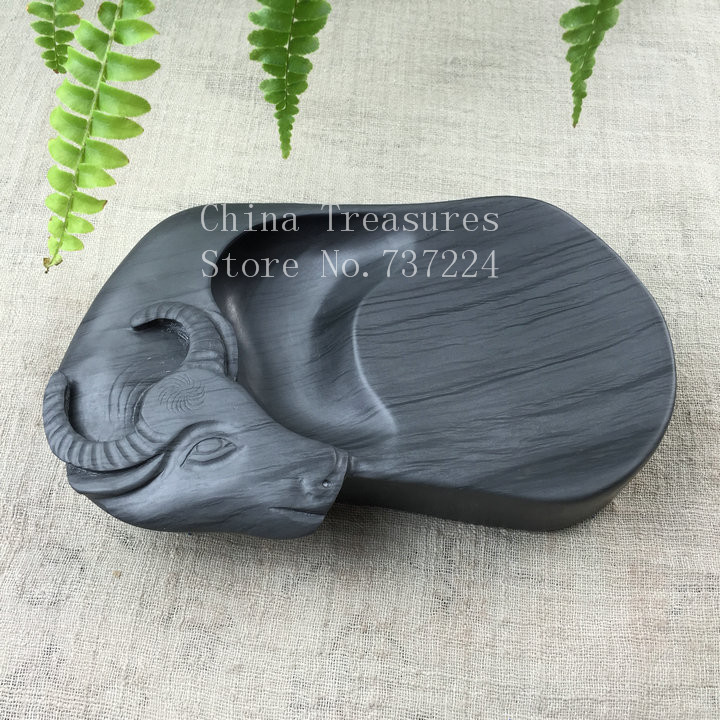 Chinese She Natural Stone Inkstone Cow Buffalo Inkslab For Calligraphy And Painting Student Inkslab Yan Tai