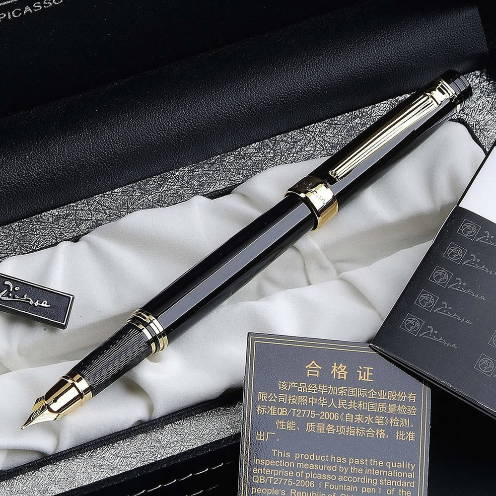 PICASSO 917 GLOSS BLACK AND GOLDEN MEDIUM NIB FOUNTAIN PEN NEW