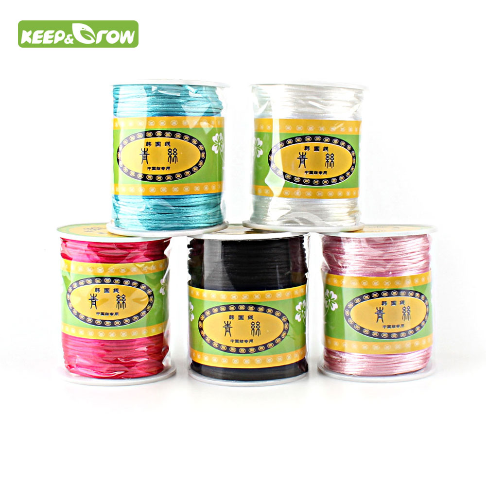 KEEP&GROW Colorful 80M 1.5mm Satin Silk Rope Nylon Cord For Baby Teether Accessories Teething Necklace Rattail Cord DIY Tools