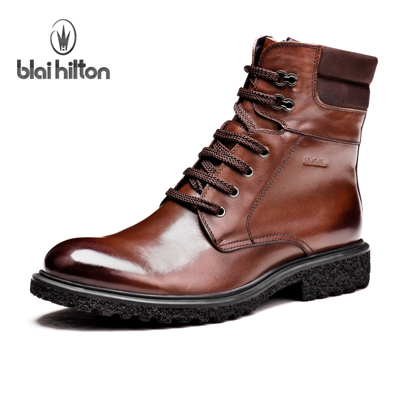 Blai Hilton 2017 Fashion Winter men shoes Genuine Leather boots Breathable/Comfortable British Style Men's Casual Martin Boots 2017 new spring british retro men shoes breathable sneaker fashion boots men casual shoes handmade fashion comfortable breathabl