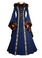 Adult Women Bell Sleeve Bundled Corset Vintage Renaissance Medieval Dress Costume Performance Clothing