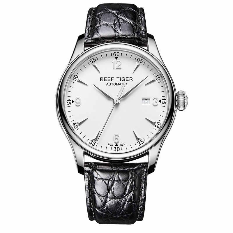 Zegarki biznesowe Reef Tiger/RT męskie zegarki automatyczne zegarek ze stali nierdzewnej pasek aligatora zegarek z datownikiem RGA823