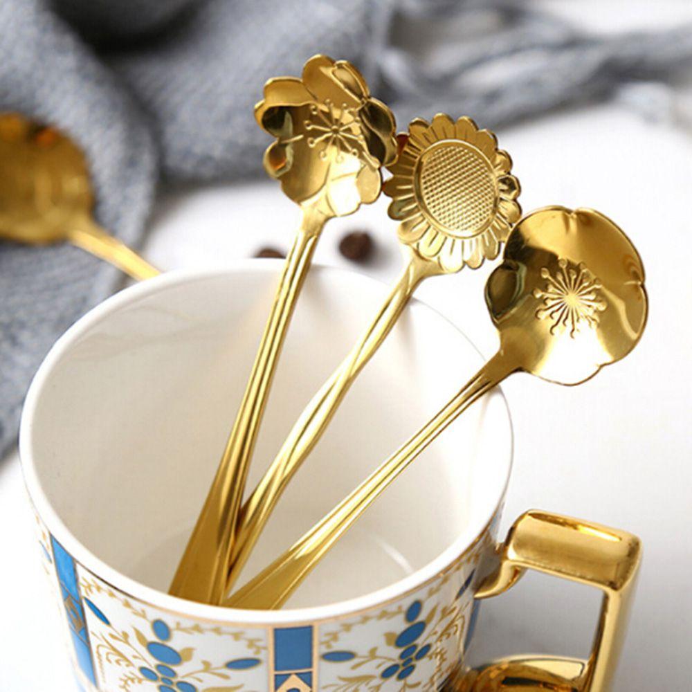 1pcs mini cute flower stainless steel teaspoon coffee. Black Bedroom Furniture Sets. Home Design Ideas
