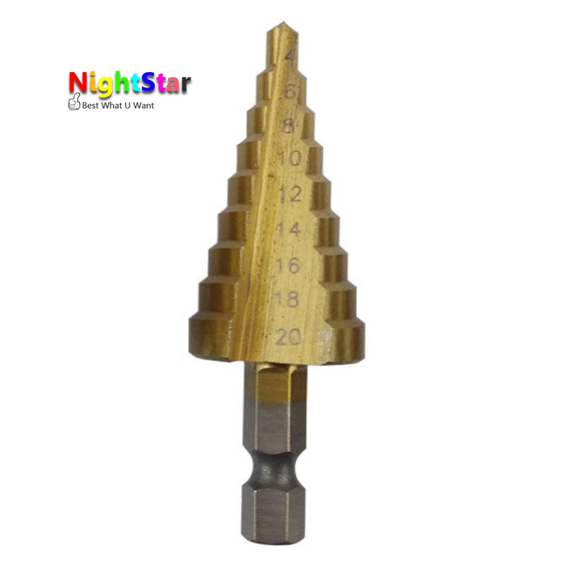 4-20mm HSS Steel Large Step Cone Titanium Coated Metal Drill Bit Cut Tool 1pc hss step cone drill bit 1 4 hex shank titanium coated drilling tool for metal wod power tool 3 13mm