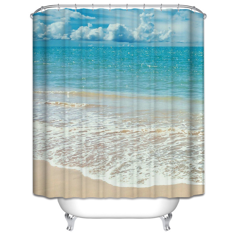 Polyester Shower Curtains Bathroom Decor Home Decorations Seabed Fish Beach  Violin Wolf Howl Shark Waterproof Bath