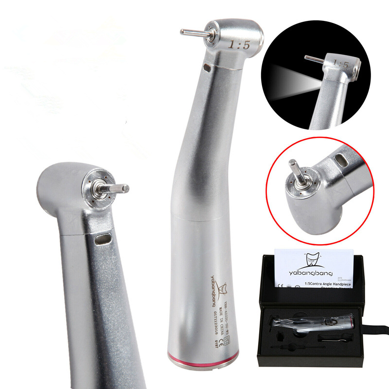 Dental 1:5 Electric Fiber Optic Led Contra Angle Handpiece Red Ring Fit Kavo NSK Turbine
