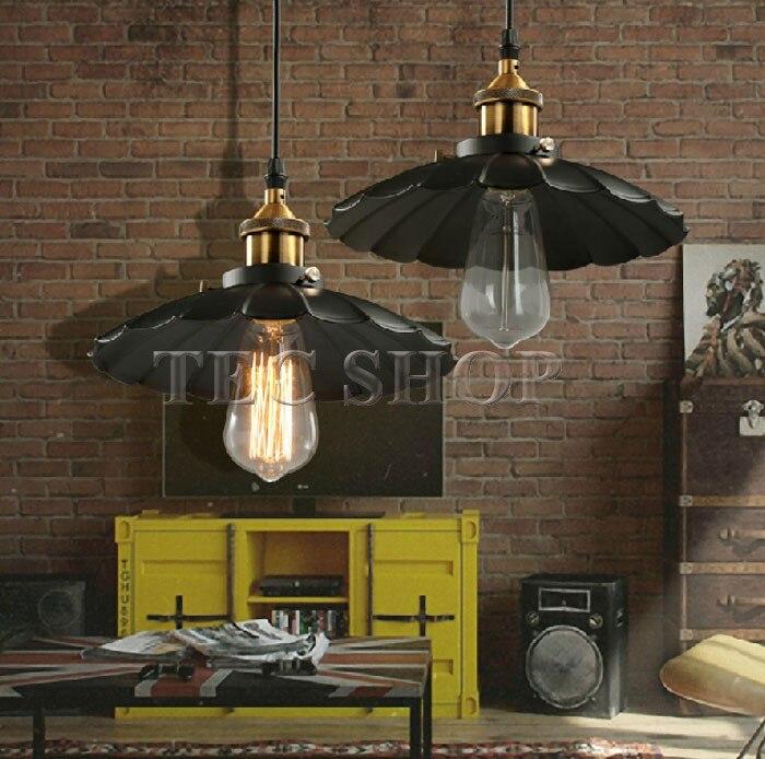 ZYY 1pcs Vintage American Industrial Light LOFT Retro Nostalgia Lamp Cafe bar Restaurant LED Lamps Black Umbrella Pendant Lights - 3