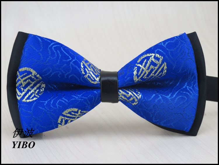 new Chinese style bow tie/Satin/auspicious patterns desgin/men Fashion Dark blue bow tie gravata