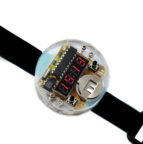 Kit d'horloge électronique intelligent montres LED à puce unique bricolage LED Kit d'horloge électronique de montre numérique avec couvercle Transparent