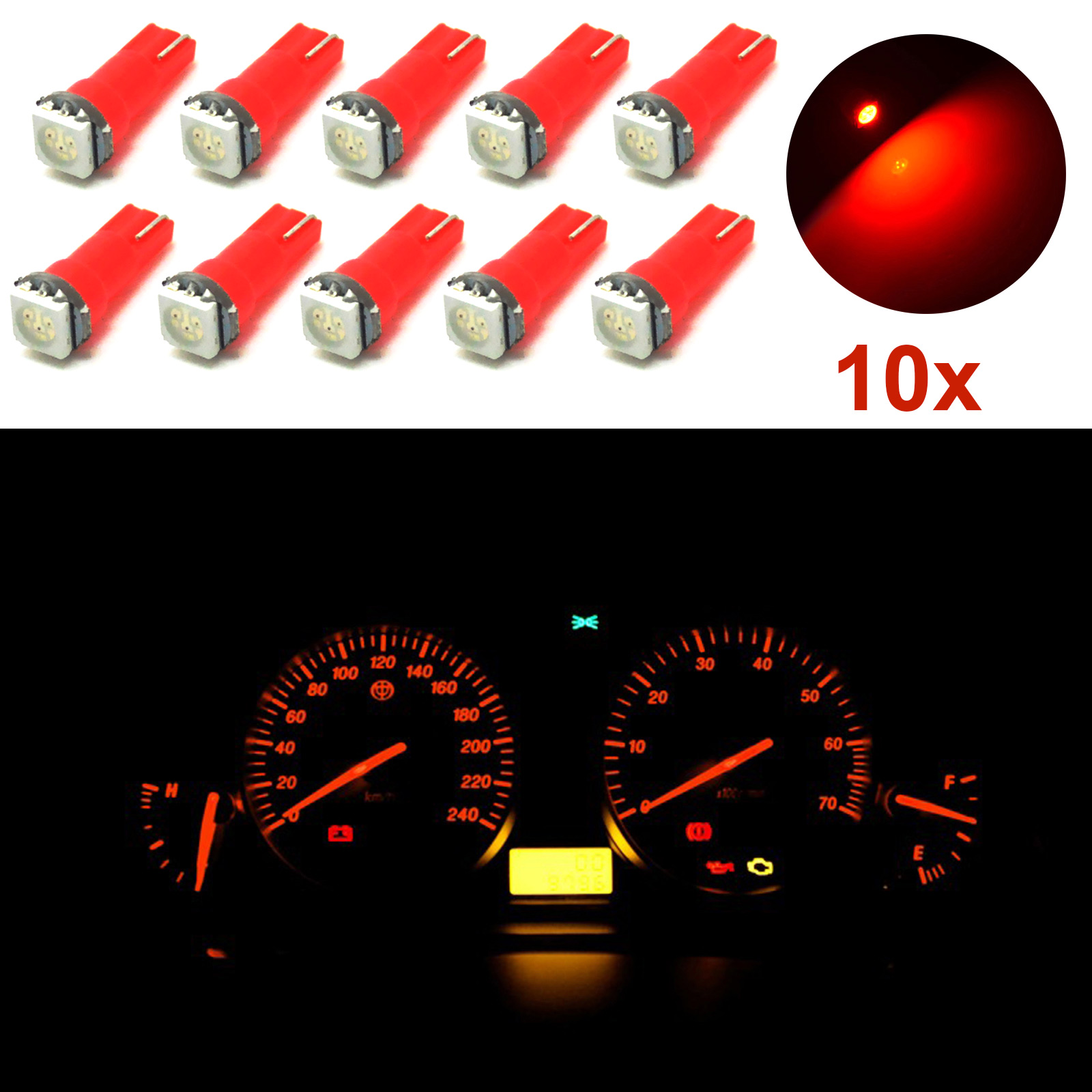 10pcs T5 37 70 Red Car Led Dashboard Instrument Panel