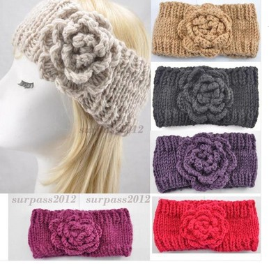 Winter Flower Knit Headband Ear Warmer Fashional Crochet Headwrap Hairband