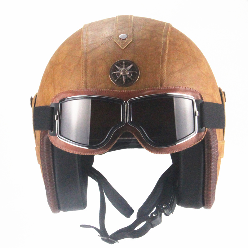 Vintage Harley Full Face Motorcycle Leather Helmet w//Goggles Cruiser Racing Bike