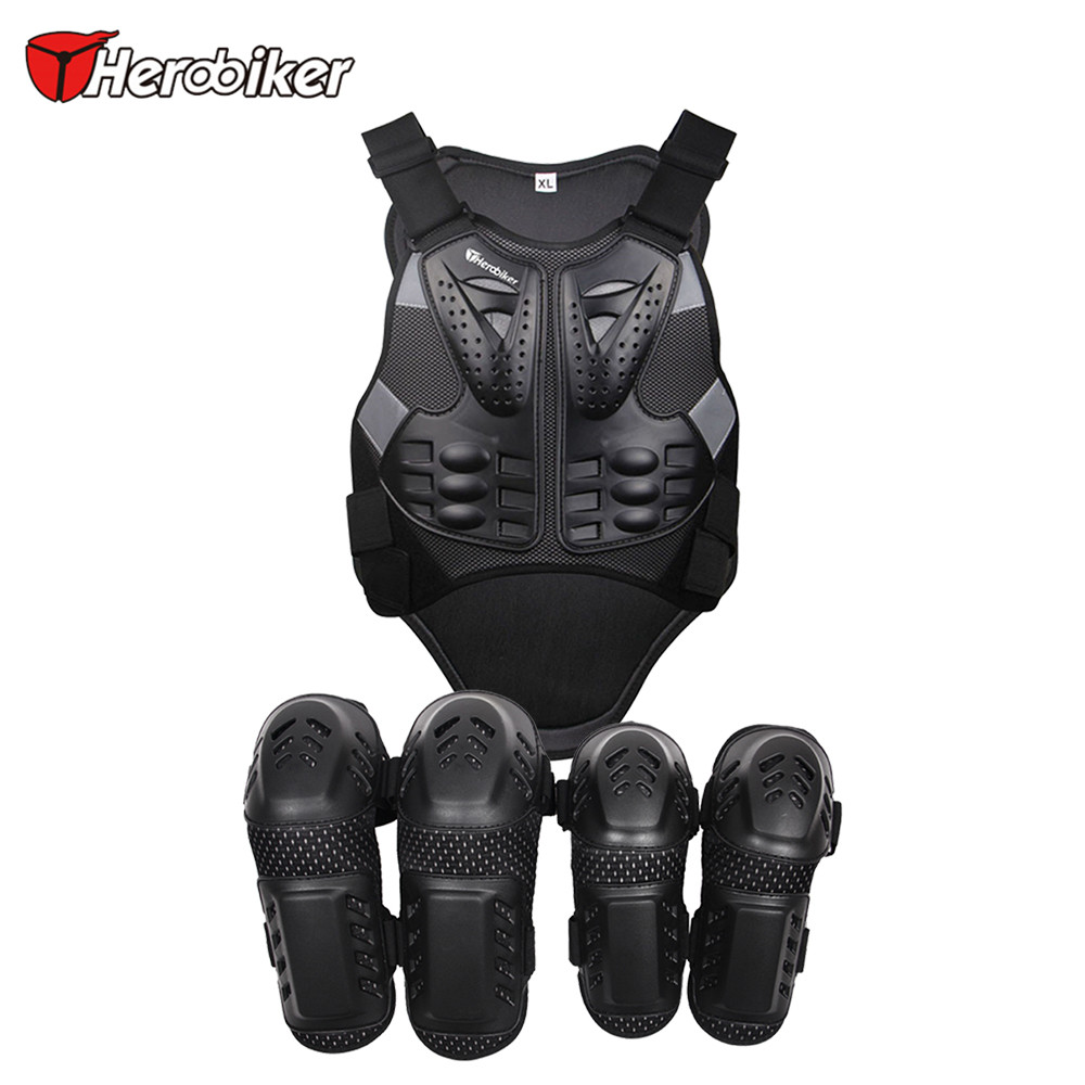 HEROBIKER Motocross Protector Armor Vest Racing Protective Body Moto Armor Racing Jacket+Moto Protective knee+Motorcycle Elbow herobiker back support armor removable
