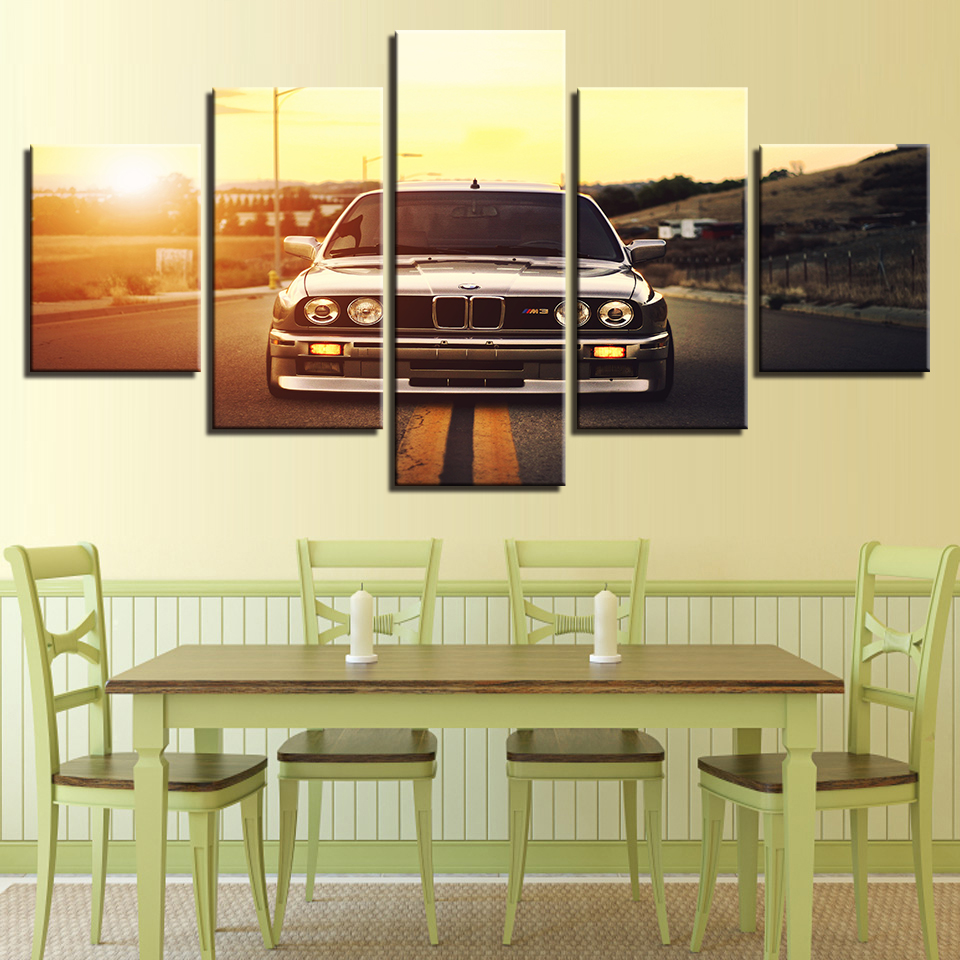 Modern HD Printed Wall Art Frame Canvas Pictures 5 Pieces Sports Car ...