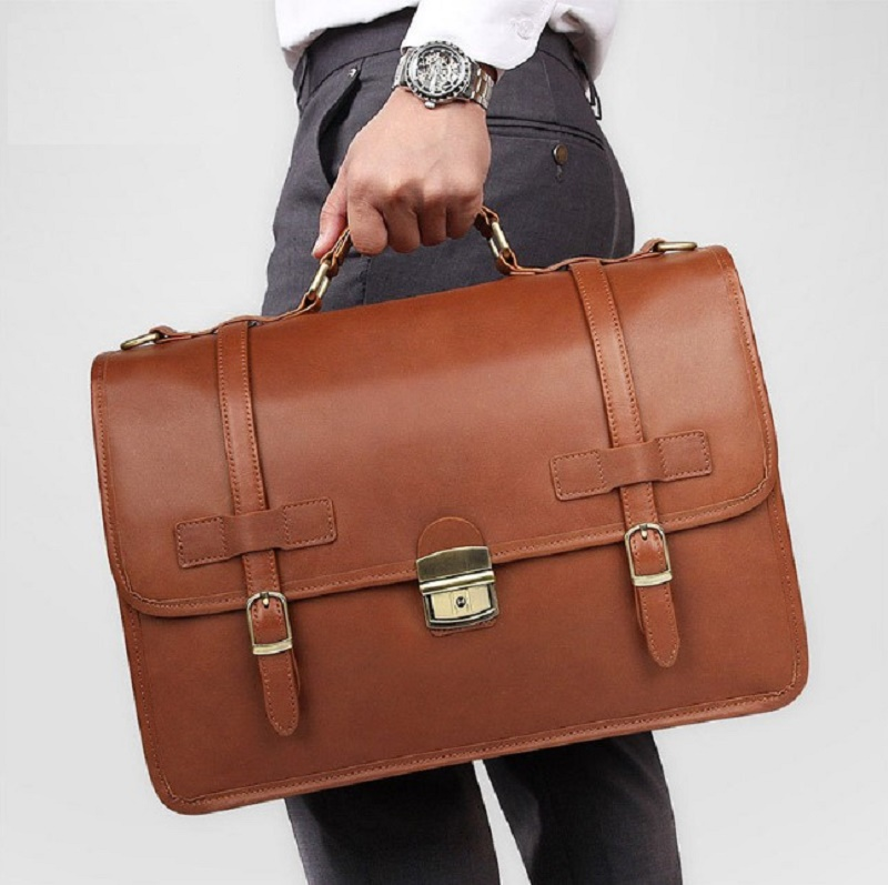 """Men's Briefcase Genuine Leather Business Travel 14"""" Laptop Big Bags Man Vintage Brand Designer Briefcases CasualHand Tote Bags"""