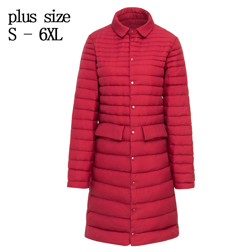 502e3ffc7fc plus size s-6XL Padded Coat Ultra warm Light white Duck Down Jacket Long  Overcoat