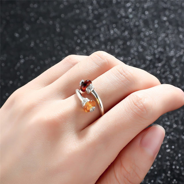 Natural Amber 925 Sterling Silver Cute Ring3