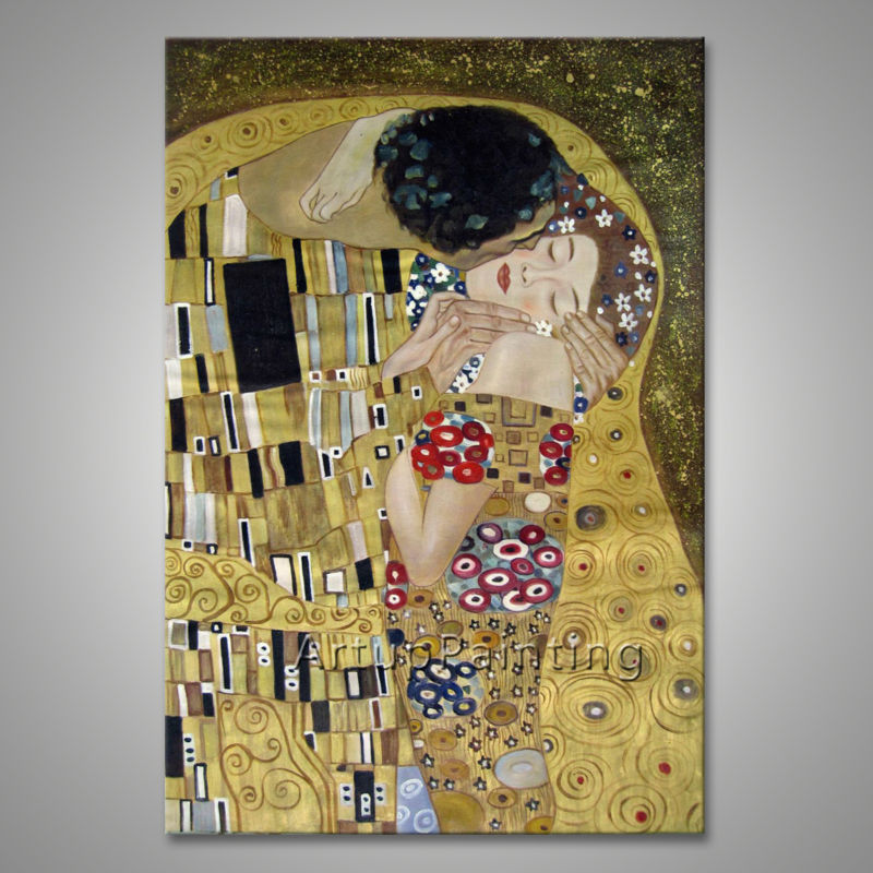 Gustav Klimt Oil painting on Canvas Hand painted The Kiss Paintings For Living Room Wall decoration wallpaper