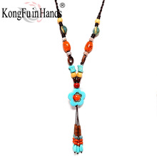 Bohemia Vintage long pendant Necklace Ethnic jewelry Beads Sweater chain exaggerated accessory Friendship gift free shipping