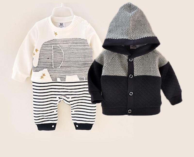 Siyubebe bebé niño recién nacido Ropa 2 unids conjunto invierno bebé Bebe  grueso algodón pelele + abrigo bebé pelele bebés mono niños ropa 0-12 m 214742bc5f74