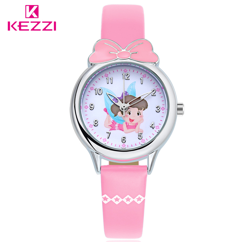 KEZZI Brand Children's Watches Kids Quartz Watch Student Girls Quartz-watch Cute Colorful Butterfly Dial Waterproof Watch