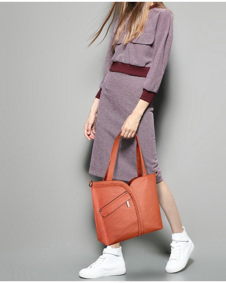 Mulheres de luxo couro genuíno tricô sacos