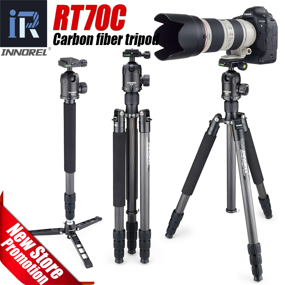 купить RT70C Carbon Fiber tripod monopod for professional digital dslr camera telephoto lens heavy duty stand tripode Max Height 175cm по цене 10308.42 рублей