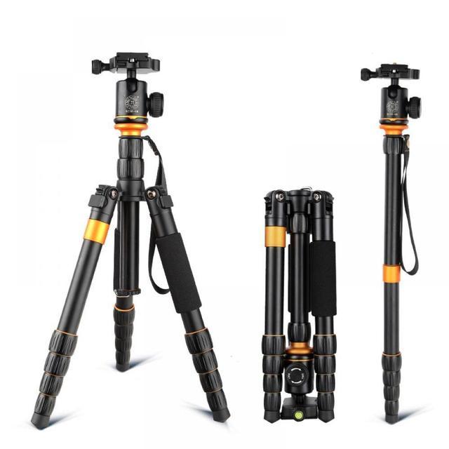 QZSD Q278 professionnel Portable en alliage daluminium appareil photo voyage léger trépied et monopode support avec rotule pour Nikon DSLR