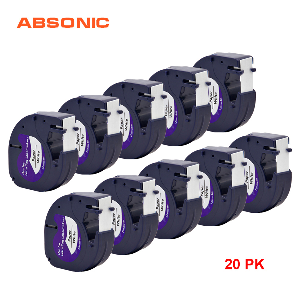 Absonic 20 pièces Compatible Dymo Letratag Recharge Papier Ruban Noir sur Blanc 12mm 91200 59421 Étiquette Ruban Dymo 91200 LT Ruban