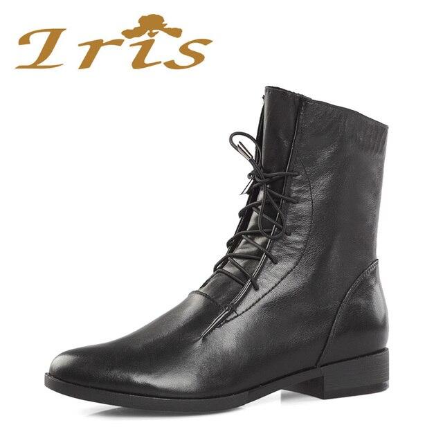IRIS Cheville Bottes à Lacets Femmes chaussures Plates En Cuir Véritable  Noir Talon Bas Mode Féminine
